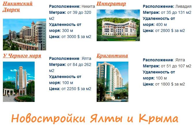 новостройки Ялты Крыма.